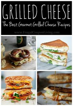 AMAZING AND DELICIOUS Grilled Cheese Sandwich Recipes on Frrugal Coupuon Living! I love the apple, cheese, glaze recipe!