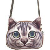 Fakeface Women Girls Vivid Cute 3D Cat Head Face Lightweight Handbag Leisure Shoulder Crossbody Bag