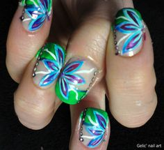 purple and blue nail designs | Gelic' nail art: Summery flower nail art with a green funky french