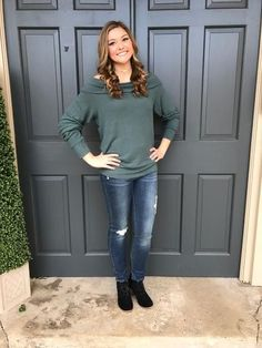 Brooklyn Off the Shoulder Sweater in Dark Sage