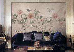 Peonia & pesce Wallpaper Oriental acquerello stampa fiore