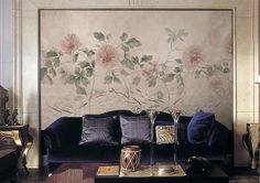 55 x 35 Peony & Fish Wallpaper Oriental Watercolor by DreamyWall