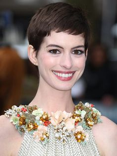 Anne Hathaway: No matter the length, we dig this newlywed's chocolate-colored locks. But we're especially loving how her chic pixie cut showcases those deep brown eyes and defined cheekbones.