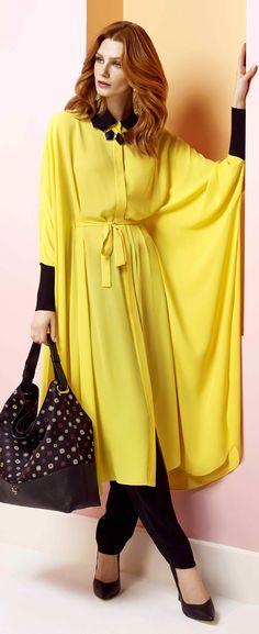 AKER 2014 İlkbahar / Yaz Eşarp-Giyim-Çanta Koleksiyonu'ndan Hijab Fashion 2017, Abaya Fashion, Muslim Fashion, Modest Fashion, Fashion 2014, Hijab Style Dress, Hijab Chic, Yellow Dress Accessories, Hijab Trends