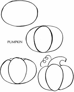 How to Draw a Pumpkin (Autumn) - free sample page from Dover Publications.