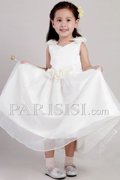 Adorable A-line Scoop Ankle-length Satin and Organza Handmade Flowers Flower Girl Dress Cheap Prom Dresses, Cheap Wedding Dress, Wedding Party Dresses, Bridal Dresses, Bridesmaid Dresses, Cute Flower Girl Dresses, Tulle Flower Girl, White Dresses For Women, Bustier