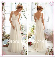 Ivory Simple Beach Classic Beach Bridal Wedding Dresses Gowns V Neck V Back Empire Long Beads Crystals Buttons Ruched Appliqued $89.06