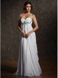 Vestidos de novia - $188.99 - Corte imperial Escote corazón Barrer de tren Chifón Vestido de novia con Volantes Bordado  http://www.dressfirst.es/Corte-Imperial-Escote-Corazon-Barrer-De-Tren-Chifon-Vestido-De-Novia-Con-Volantes-Bordado-002011570-g11570