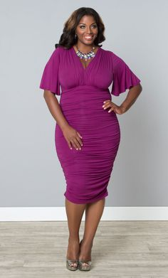 Flatter your curves in our plus size Rumor Ruched Dress. Breathable and soft fabric you're your body beautifully. www.kiyonna.com