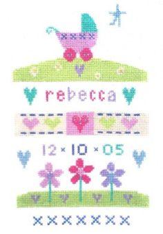 Baby Sampler Cross Stitch Patterns | Birth Baby Girl Sampler - Cross Stitch - The Stitching Shed