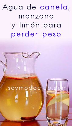 Agua de canela, manzana y limón para perder peso - Soy moda Healthy Drinks, Healthy Eating, Healthy Recipes, Wine Glass, Smoothies, Detox, Health Care, Tips, Angeles