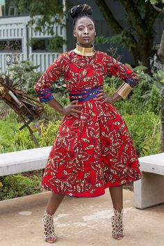 "For that regal statuesque feel, the golden red print dress accentuates the waistline with navy blue binding for that ""je ne sais quoi "". Available in size 8 to Red And Blue, Navy Blue, Golden Red, Funky Design, Vintage, Dresses, Fashion, Shelf, Fashion Styles"