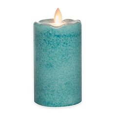 Mirage® Flickering Flame LED Pillar Candleby Candle Impressions in Light Blue at Bed Bath and Beyond