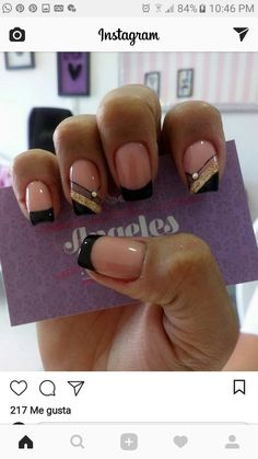 Nail Desings, Design Ideas, Beauty, Amor, Simple Elegant Nails, Hand Designs, Stiletto Nails, Black Nails, Cute Nails