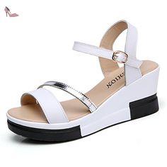 Sandale femme plateau semelle multicolore chaussure bride arrière antidérapant moderne blanc 38 - Chaussures xtian (*Partner-Link)