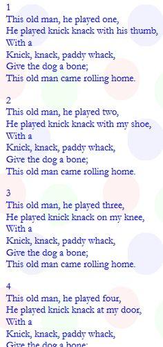 .Knick Knack Paddy Whack poem