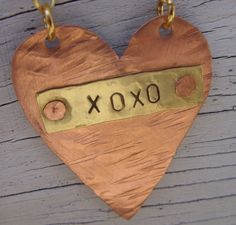 Reserved for Kaci Hand stamped riveted heart copper by beadsoul, $35.00