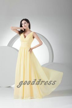 Free shipping 2013 new Yellow V Neck ruched A Line by gooddress, $109.99