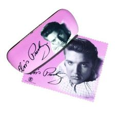 """Elvis Presley Pink Eyeglass Case with Microfiber Cleaning Cloth Pink  6.5"""" x 3"""" x 2""""."""