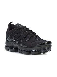 Shop Nike Air VaporMax Plus lace-up sneakers Black Nike Shoes, Nike Air Shoes, Black Nikes, Air Max Sneakers, Sneakers Nike, Nike T, Tenis Nike Air, Nike Air Vapormax, Nike Air Max Mens