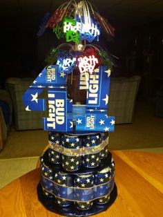 Bud Light Beer Can Cake with Grizzly tobacco and yeti coozie. I ❤my boyfriend!