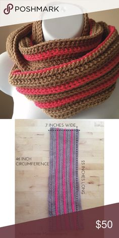 Infinity Scarf - Host Pick! Add a pop of color to your winter coat with this tan and pink striped infinity scarf! True color shown in photo 1. • 100% Acrylic Yarn • Machine wash gentle cycle, warm or cool, Dryer warm, Dry flat possible but not recommended, Do not hang dry or iron.   • Length Flat: approx. 25 inches • Circumference: approx. 50 inches • Width: approx. 6 inches  • Smoke free, cat friendly home Handmade Accessories Scarves & Wraps