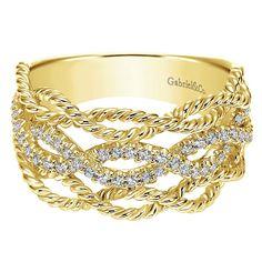 Gabriel & Co. 14k Yellow Gold Diamond Ladies Fashion Ring #justicejewelers #gabrielandco