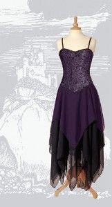 The Faery dress has a stiffened, lightly boned corset style bodice that laces up the back with satin ribbon through silver eyelets. The bodice is made from a two tone brocade fabric and is fully lined and edged in black satin (the bodice features an adjustable strap, but if you want to snip this off it is substantial enough to be worn strapless)The Chiffon skirt is made from three offset layers and falls into fluted points