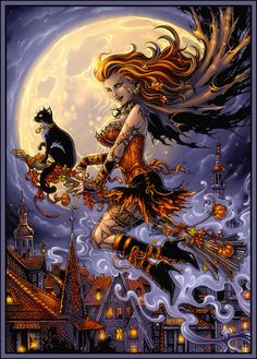 Halloween night by Candra on deviantART (a crisper version with artist linkup)...pin-up witch