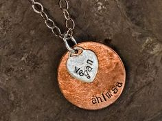 Hand Stamped Vegan Recycled Sterling Silver Heart by AhimsaDesigns, $69.00