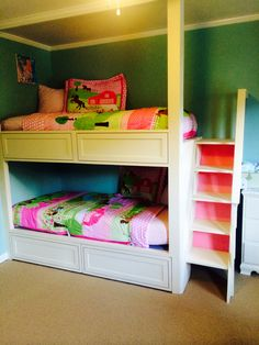 Our built in bunk beds with cedar lined drawers below the bottom bunk Bunk Beds Built In, Kids Room, Drawers, Teenage Bedrooms, House, Furniture, Blog, Diy, Home Decor