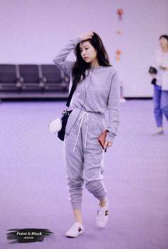 """""""Jennie-ah."""" He called softly """"I'm dreaming."""" I cried. A book 2 or c… Korean Airport Fashion, Korean Girl Fashion, Blackpink Fashion, Kpop Fashion Outfits, Korea Fashion, Korean Outfits, Kim Jisoo, Black Pink Kpop, Jennie Blackpink"""