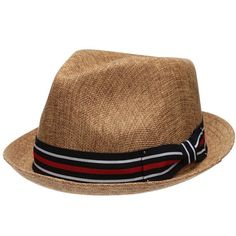 799703cccb758 Mens Summer Fedora Hat Stingy Brim Linen Blend Porkpie Dress Hat Brown  EPf2261