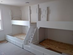 Custom Made Adult Quad Bunk Bed With Step And Under Storage Safe Bunk Beds, Bunk Bed Rooms, Bunk Beds Built In, Bunk Beds With Storage, Cool Bunk Beds, Bunk Beds With Stairs, Kids Bunk Beds, Bedrooms, Kids Bedroom Ideas