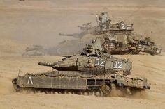 A pair of Israel Defense Force Merkava Mark IV main battle tanks Canvas Art - Ofer ZidonStocktrek Images x Tank Armor, Battle Tank, Sherman Tank, Military Armor, Defence Force, World Of Tanks, Modern Warfare, Armored Vehicles, War Machine
