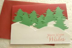 "Handmade ""Warm Winter Wishes""Red Stamped Blank Card by ChicEventsDecor on Etsy"