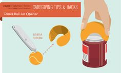 Make jar opening easier with the use of a box cutter or sharp knife and a tennis ball. Slice around the tennis ball and use the cut out piece to get a better grasp on jar tops.