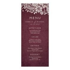 Burgundy elegant vintage lace rustic wedding menu card