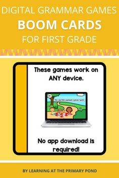This is a set of digital activities for first grade grammar skills! These digital grammar activities will save you tons of time - no prep is required! Grammar Games, Grammar Skills, Grammar Activities, Decoding Strategies, Comprehension Strategies, First Grade Reading, Reading Workshop, Workshop Ideas, Punctuation