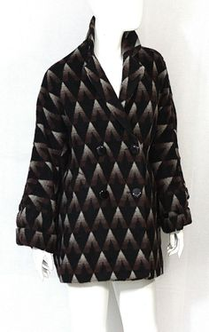 Dolce Vita Coat NWT SZ Small Black Brown Patterned Wool  Jacket Button front