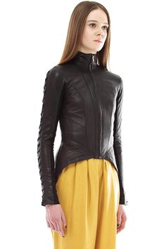 Love the shape and lacing of this leather jacket.