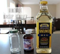 DIY: Homemade Makeup Remover!  Mix equals parts of Sunflower Oil and Castor Oil and place in a container to store for use.