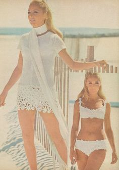 Vintage 1970s Crochet Lace Mini Dress and Bikini by cemetarian, $3.74
