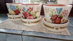 Silvia_dekupaz / Ozdobné kvetináče Decoupage, Planter Pots