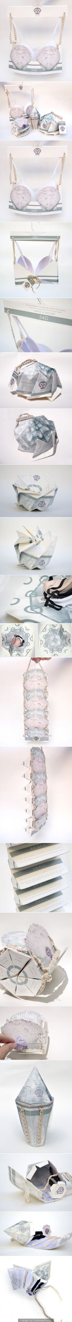 This She Shell lingerie student concept packaging is so creative and unique curated by Packaging Diva PD created via http://www.packagingoftheworld.com/2014/09/she-shell-student-project.html