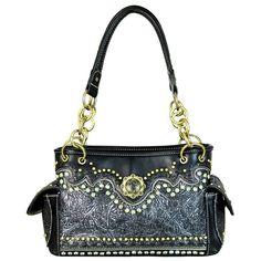 Montana West Western Satchel Shoulder Handbag Black Tooled & Berry Concho for sale online Satchel Purse, Satchel Handbags, Coin Purse, Coin Wallet, Aztec Purses, Embroidery Purse, Concealed Carry Purse, Unique Purses, Black Handbags