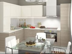 Угловая кухня модерн в светлых тонах, гарнитур для стандартной кухни / Small kitchen with nice and clean design is fair shades: