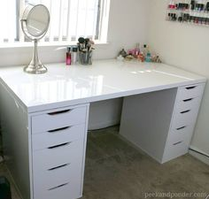 DIY Makeup Vanity with IKEA Related posts: Trendy Diy Desk Vanity Make Up Ikea Alex Ideas Office desk with IKEA ALEX drawer units as base. Except use as a makeup vanity i… Diy Makeup Vanity Desk Thrift Stores 41 Ideas Trendy Diy Desk Vanity Wall Art Rangement Makeup, Diy Rangement, Ikea Makeup Storage, Diy Storage, Storage Ideas, Organization Ideas, Bathroom Storage, Bathroom Organization, Storage Organizers