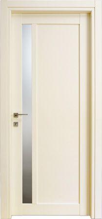 #Porte interne modello 1F.1V.Vert con #vetro in #legno listellare. #Laccato Ral 1013 (Avorio). Linea Stilo - Catalogo Aria.