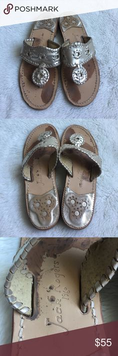 Jack Rogers Platinum Gold Sandals size 7.5 Preowned authentic Jack Rogers Platinum Gold Sandals size 7.5. Signs of wear in upper sole. Also the inner strap of the right sandal has come partly detached. Please look at pictures for better reference. Happy shopping! Jack Rogers Shoes Sandals
